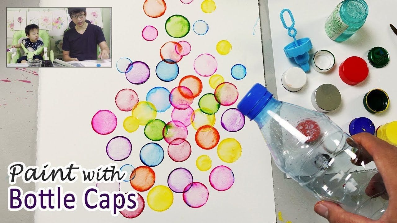 Bottle Cap Painting Technique For Beginners Basic Easy Painting Idea Bubble Painting Dandelion Painting Easy Paintings