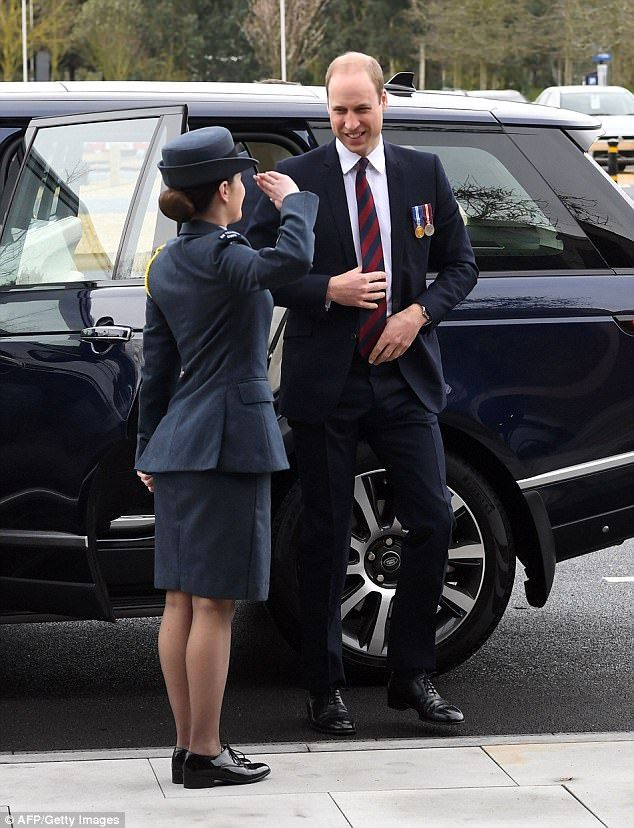 A royal welcome: The Duke of Cambridge is greeted by staff as he arrives a theNational Me...