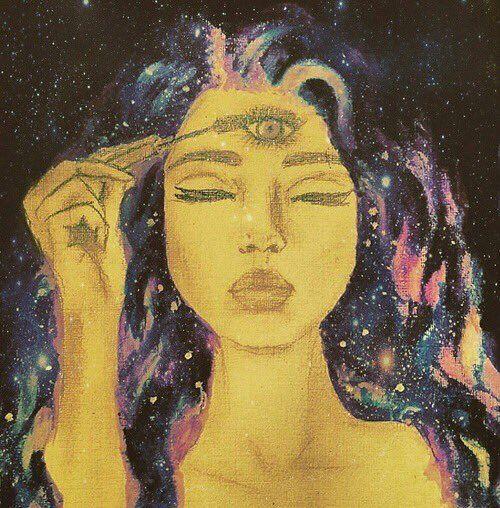 art, girl drawing psychedelic third eye