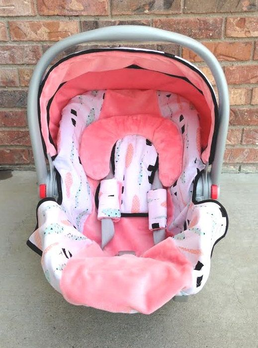 Aztec Feather Car Seat Canopy And Car Seat Cover In Blush