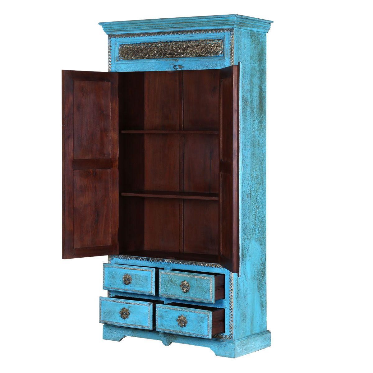 Turquoise Trail Br Inlay 2 Door 4 Drawer Solid Wood Tall Cabinet