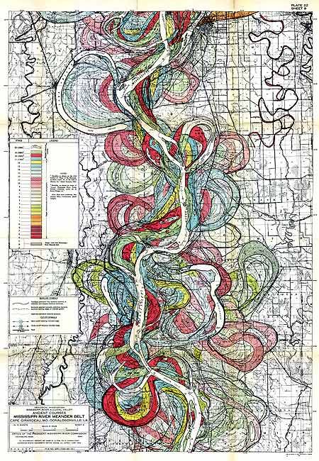 Mississippi River Topographic Map The illustration shows how the Mississippi River has meandered