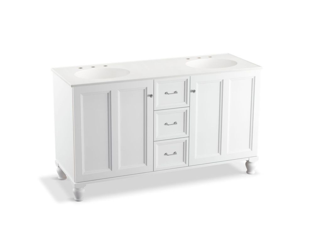 Damask 60 inch vanity with furniture legs 2 doors and 3