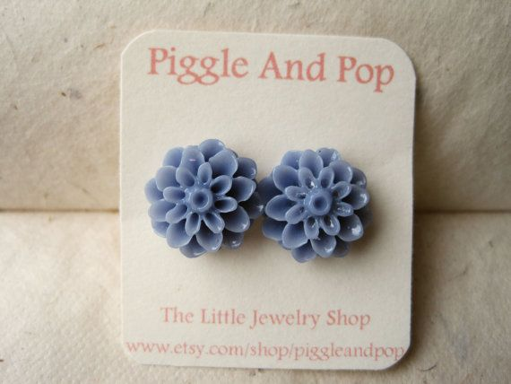 Slate Blue Chrysanthemum Earrings Flower Studs by PiggleAndPop, $7.00