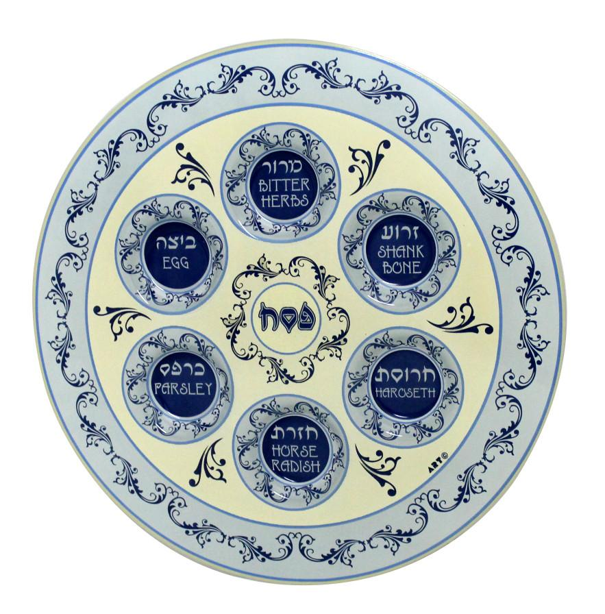 Traditional Porcelain Seder Set In Blue Home Kitchen Collectible Figurines