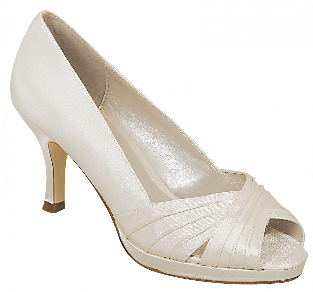 Viki Ivory 155 Mid Heel Platform An Elegant Peep Toe Platform Heel With Pleated Detail Made Of High Discount Womens Shoes Cheap Womens Shoes Ivory Shoes