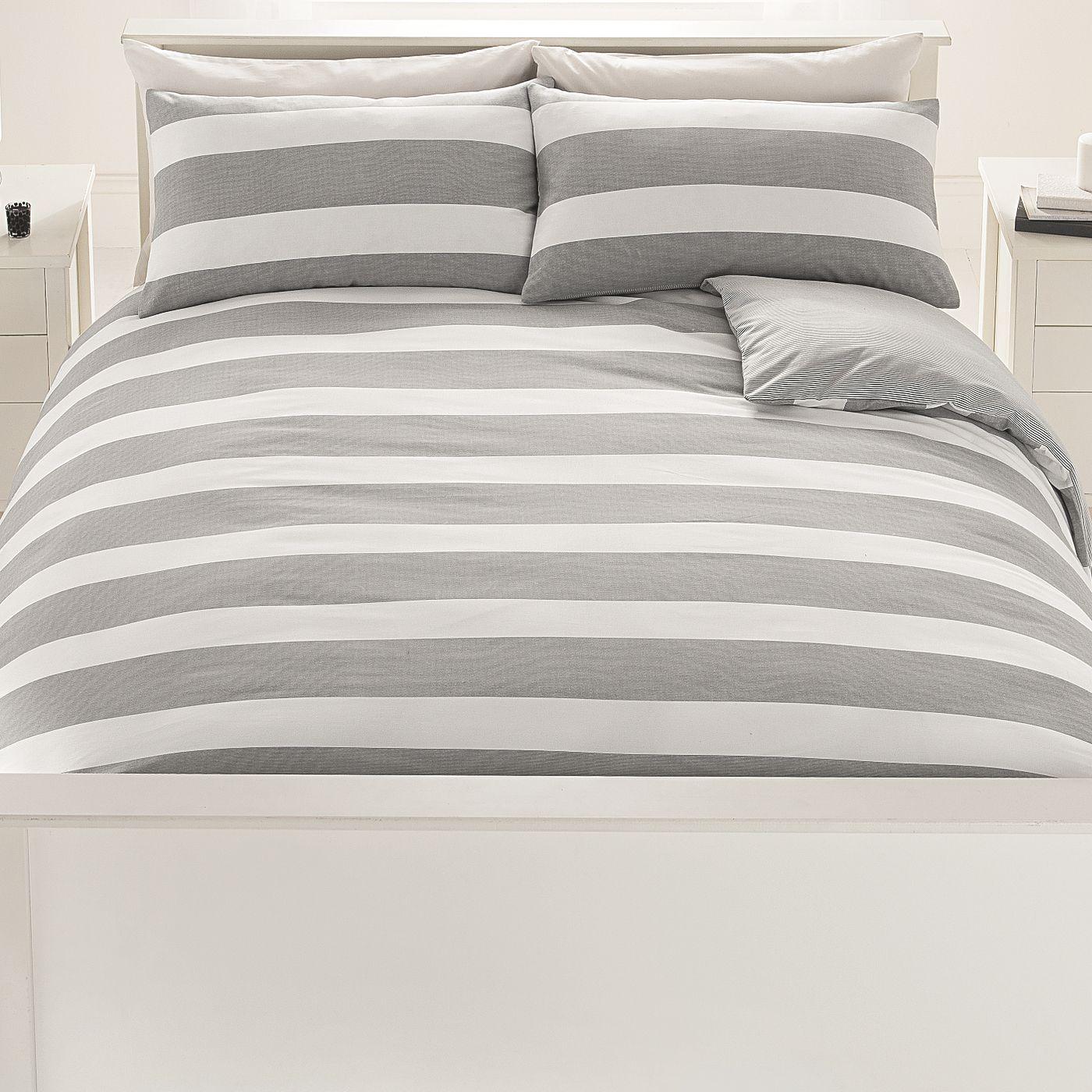 George Home Grey Rugby Stripe Duvet Range Bedding
