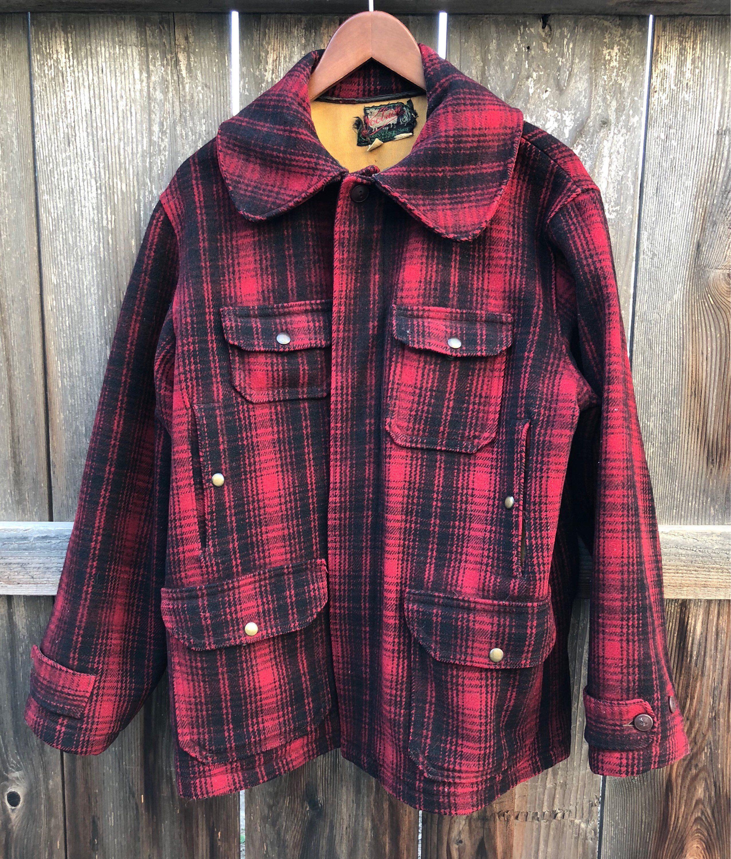 0e9e888007eb7 Vintage Woolrich red black coat mackinaw buffalo plaid 40s 1940s shadow  plaid 50s Rockabilly 1950s, grunge wool hunting coat, men size 44 L