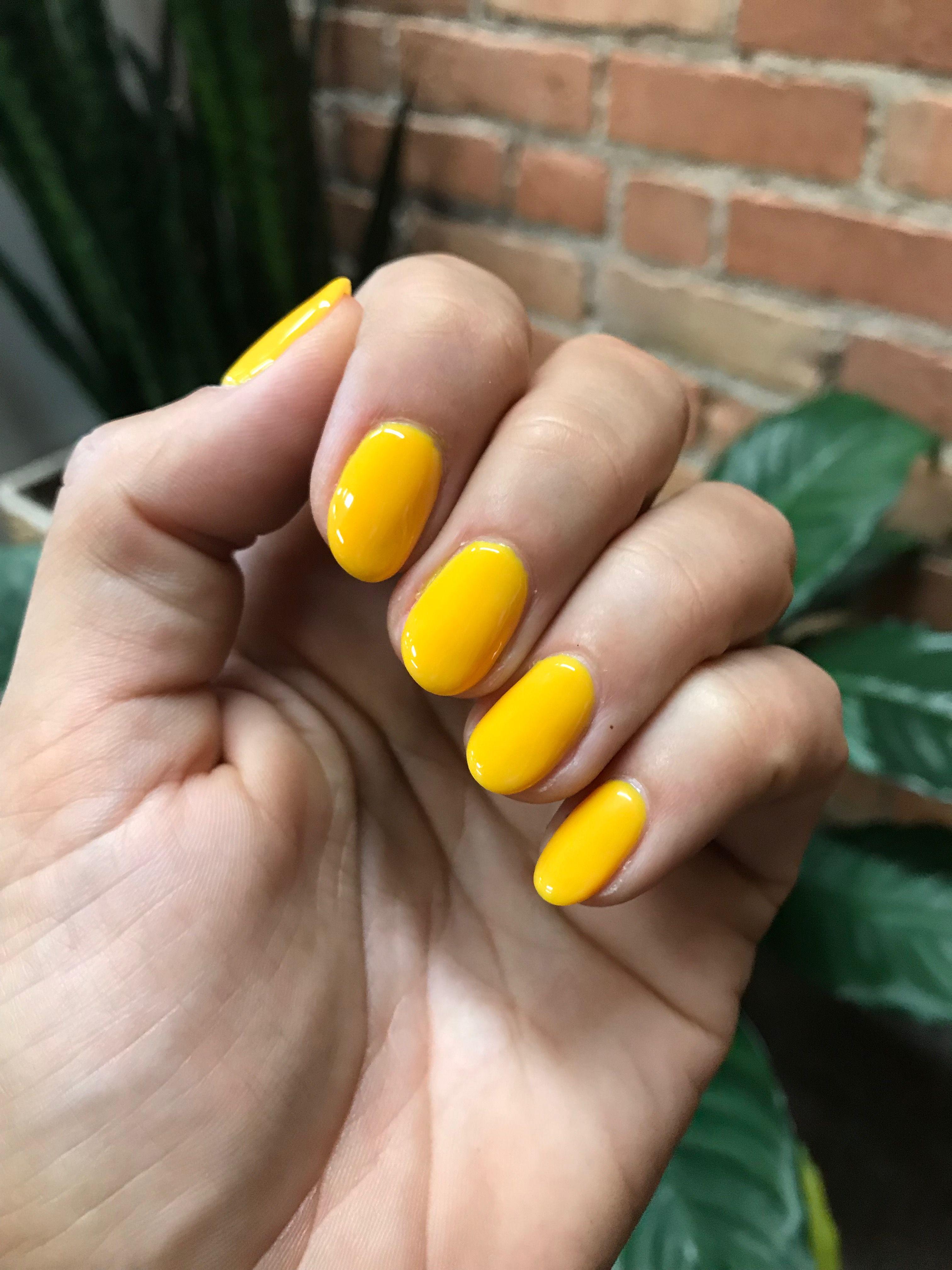 Mustard Yellow Summer Gel Oval Almond Short Nails Oval Acrylic