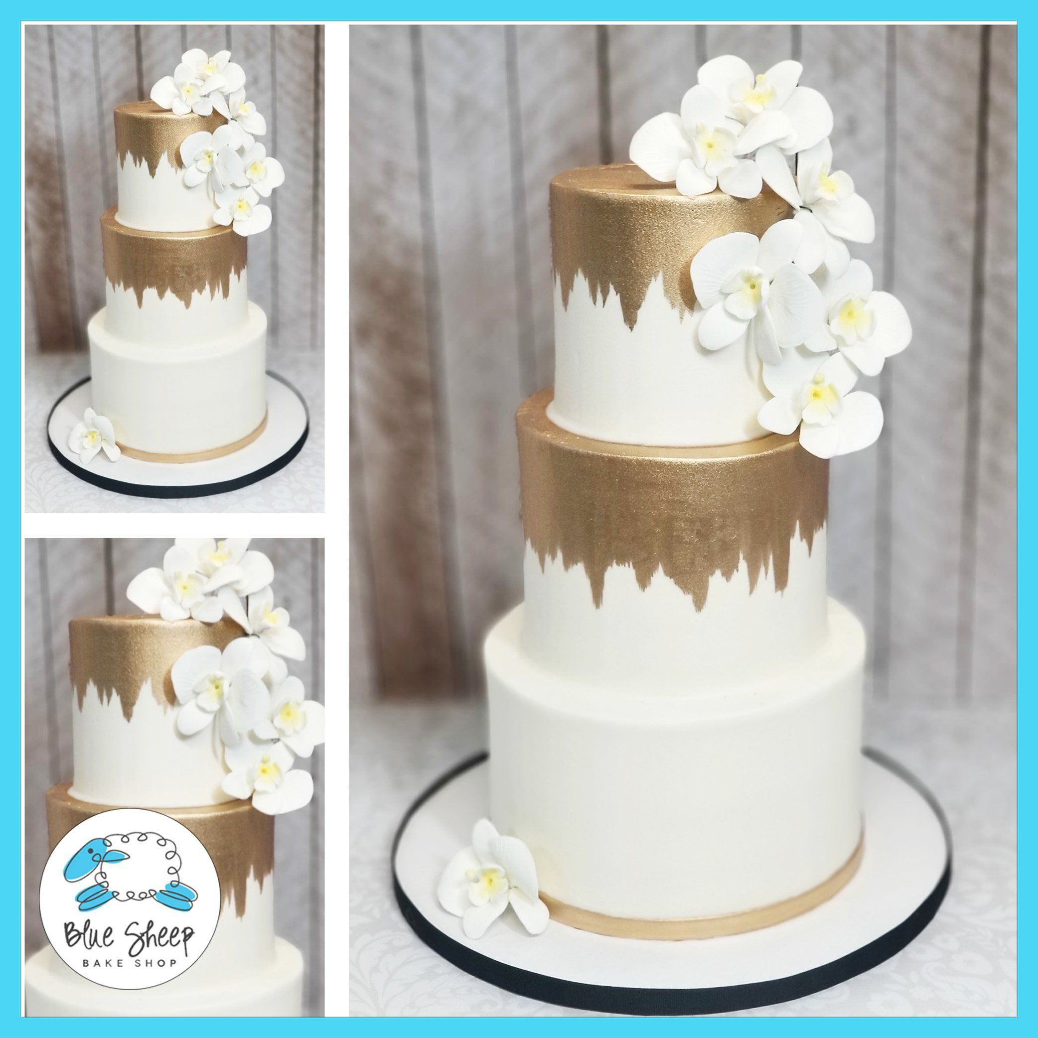 Gold Brushed Wedding Cake With Orchids Buttercream Wedding Cake