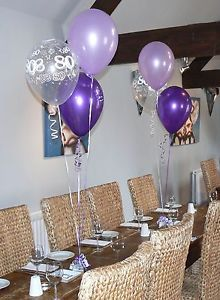80th Birthday Balloons 10 Table Decorations Purple and Lilac or