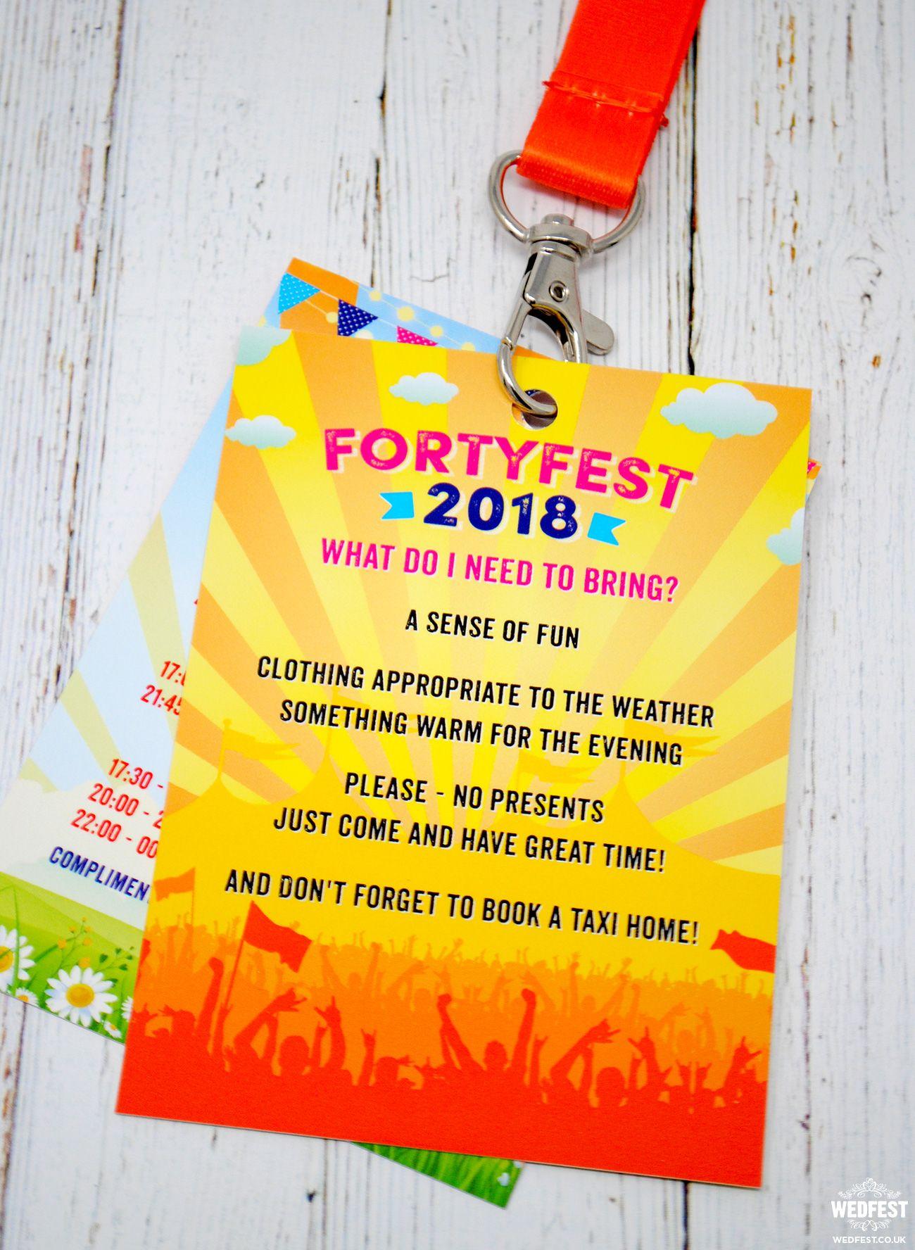 Fortyfest 40th Birthday Party Festival Invitations | WEDFEST