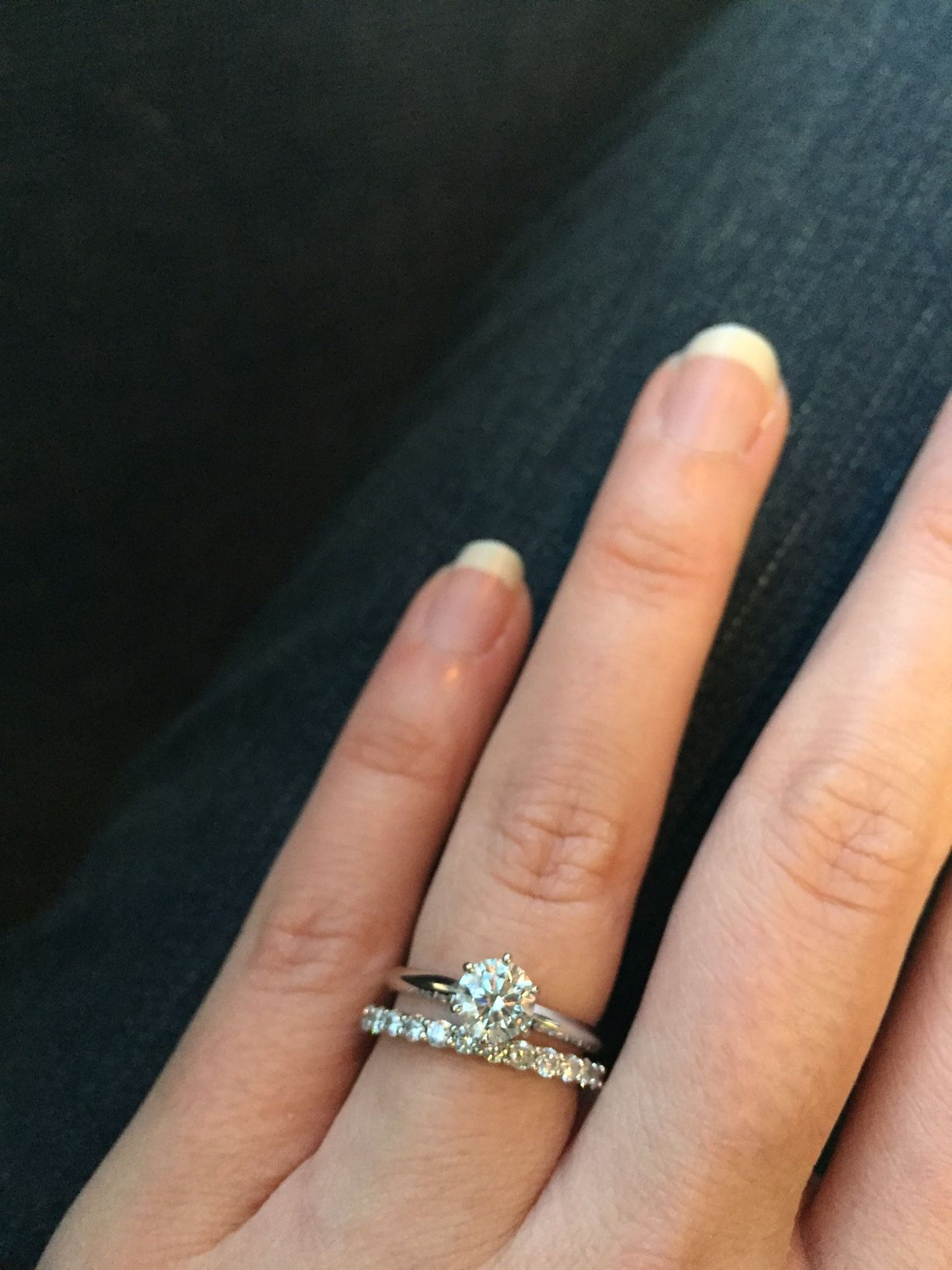 Show Me Your Wedding Band With Tiffany Style Solitaire E Ring Weddingbee Page 3