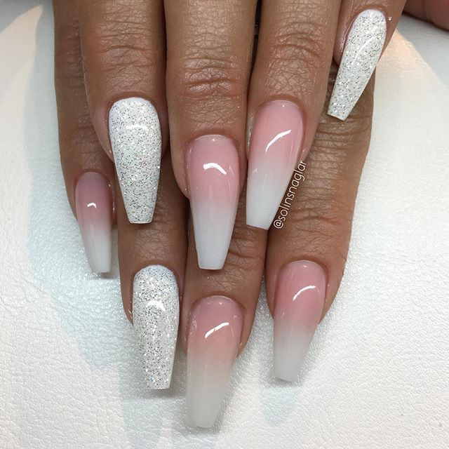 french ombre quotsnow whitequot med diamond toe nails design