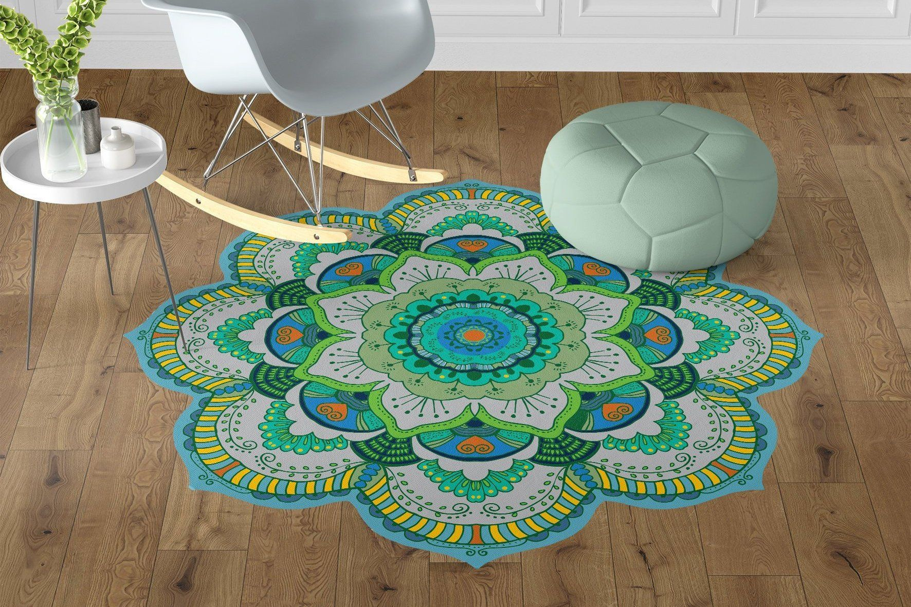 Beautiful Green Mandala Vinyl Floor Mats Non Slip Flower Etsy
