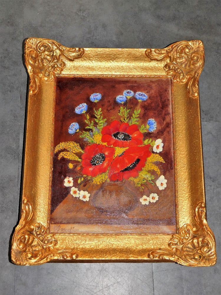Tableau ancien huile sur toile bouquet floral signe boudin cadre