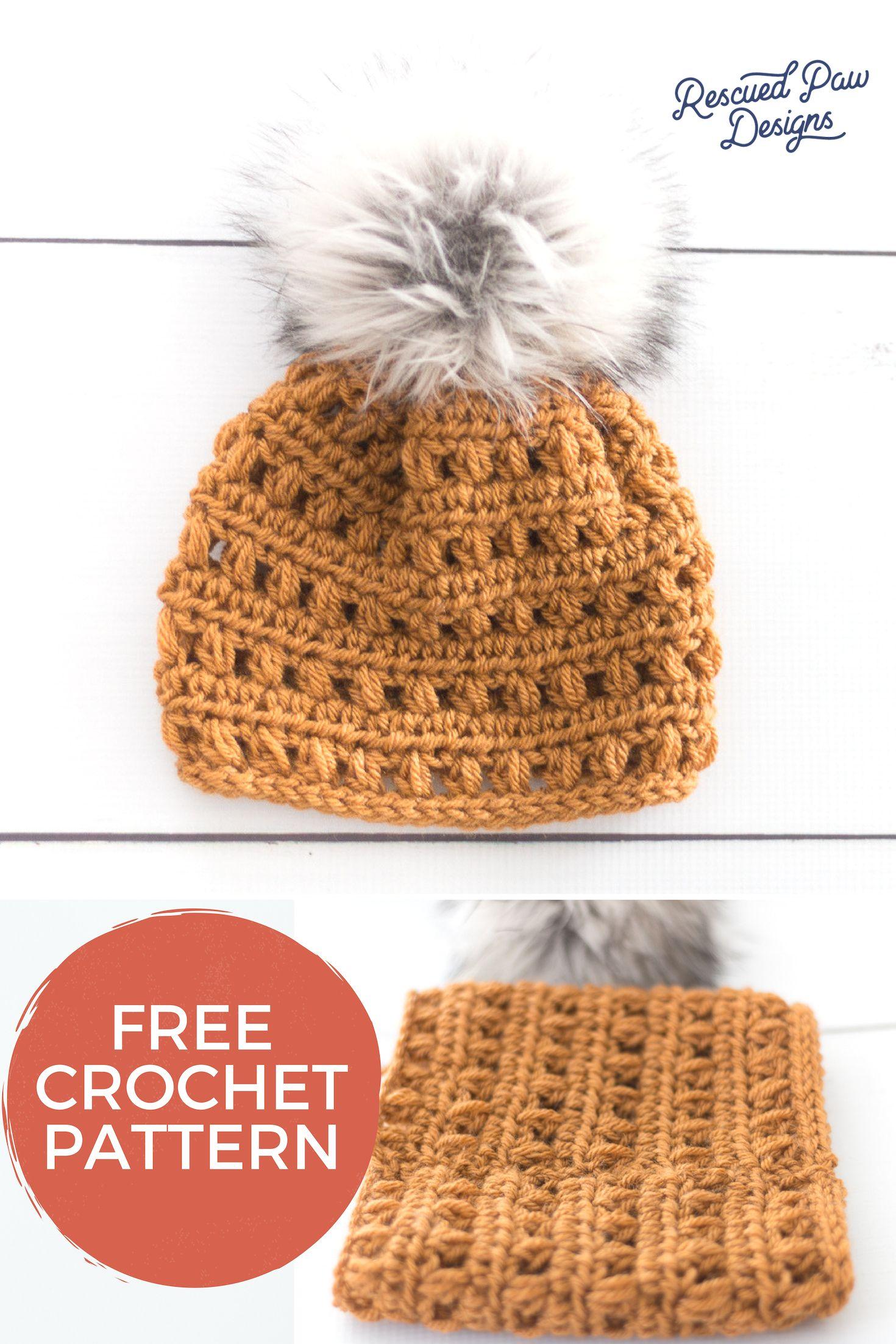 7f765c4066f Fur Pom Hat to Crochet - Free Crochet Pattern from Rescued Paw Designs +  Crochet Pom Hat