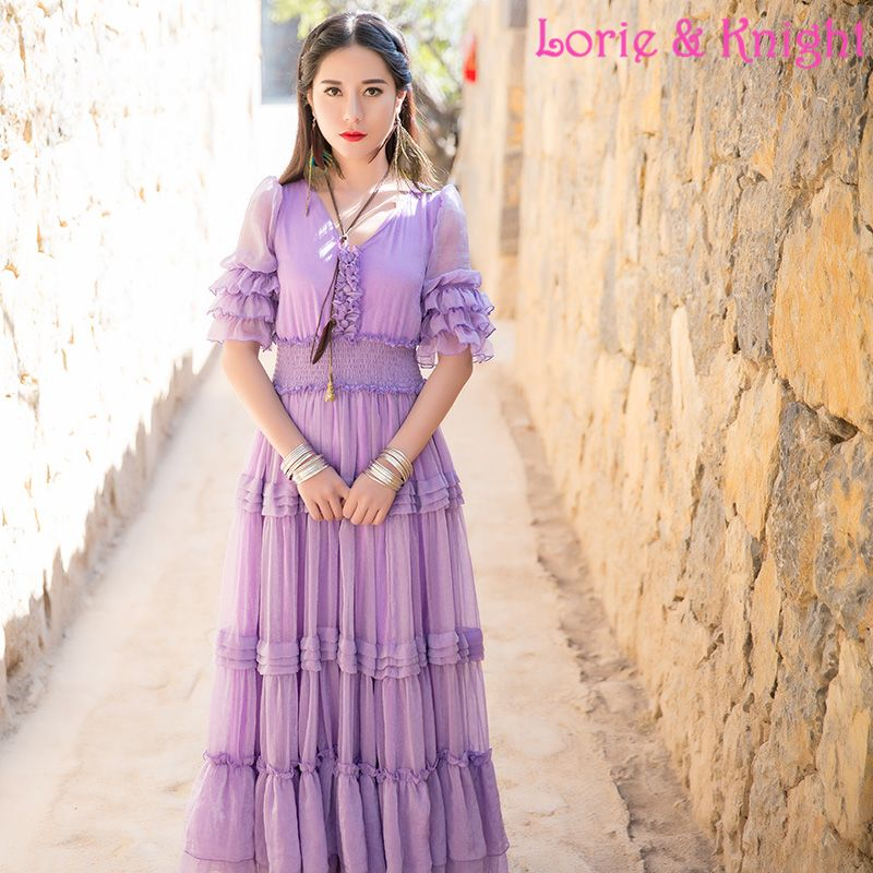 Europe Royal Court Fashion Inspired Long Dress Full Circle Purple Chiffon Beach Ruffles Tiered Dress Online Shopping at a cheapest price for Automotive, Phones & Accessories, Computers & Electronics, Fashion, Beauty & Health, Home & Garden, Toys & Sports, Weddings & Events and more; just about anything else