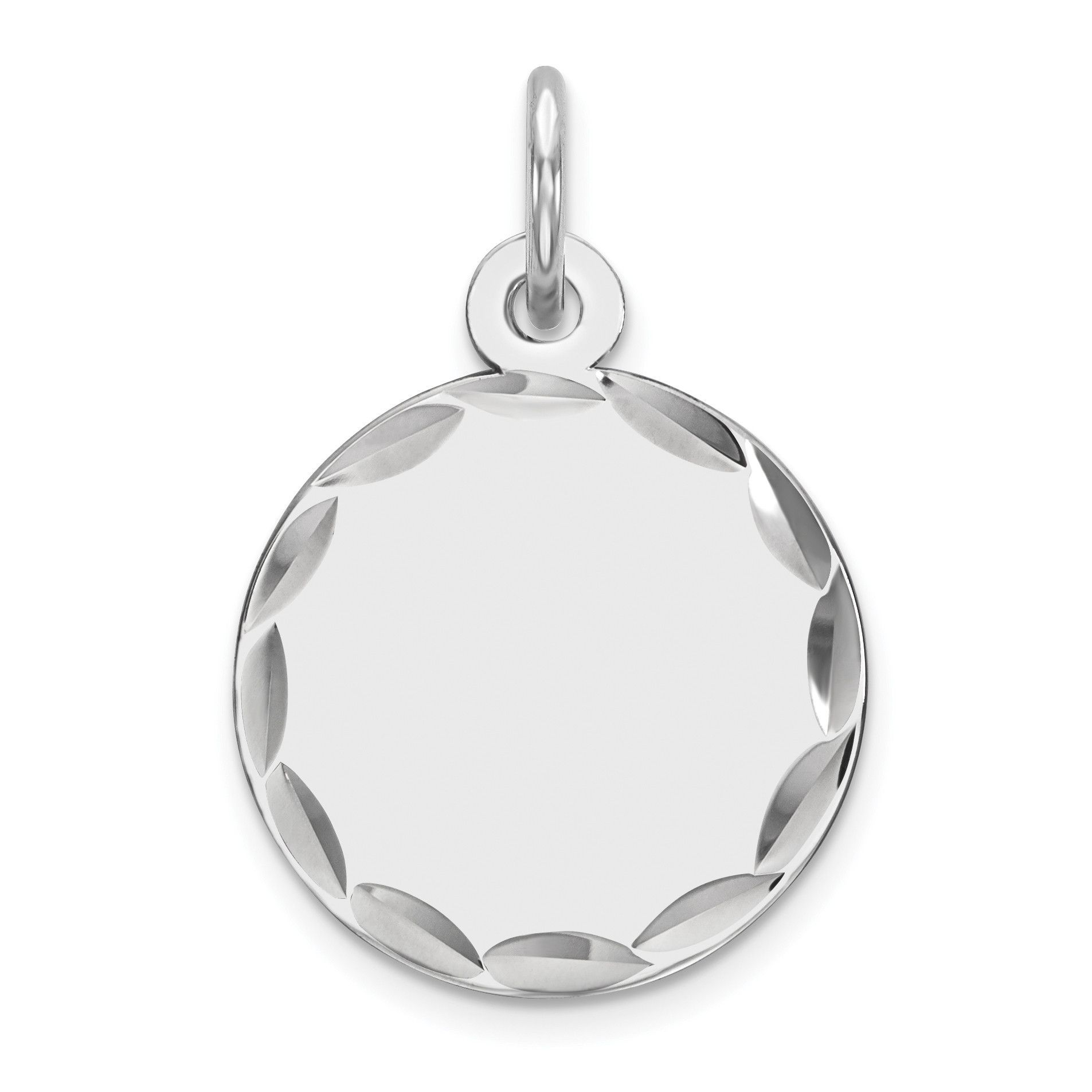 Satin Back Disc Charm 925 Sterling Silver with Rhodium Plated Engraveable Oval Polished Front