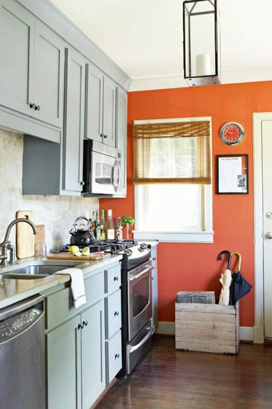 Orange Walls And Gray Cabinets In 2019 Orange Kitchen