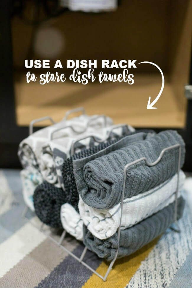 Kitchen Hack Use A Dish Rack To Store Towels Kitchen Towels
