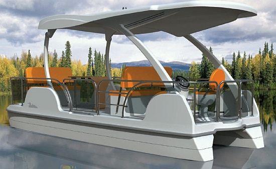 Solar Pontoon Boat Seats 8 Passengers, By Buffalo Solar Boats.