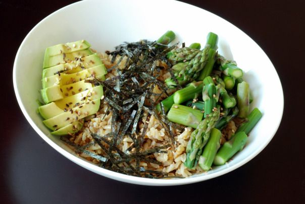 Sushi Bowl with Asparagus and Avocado - will try this and substitute the rice with quinoa