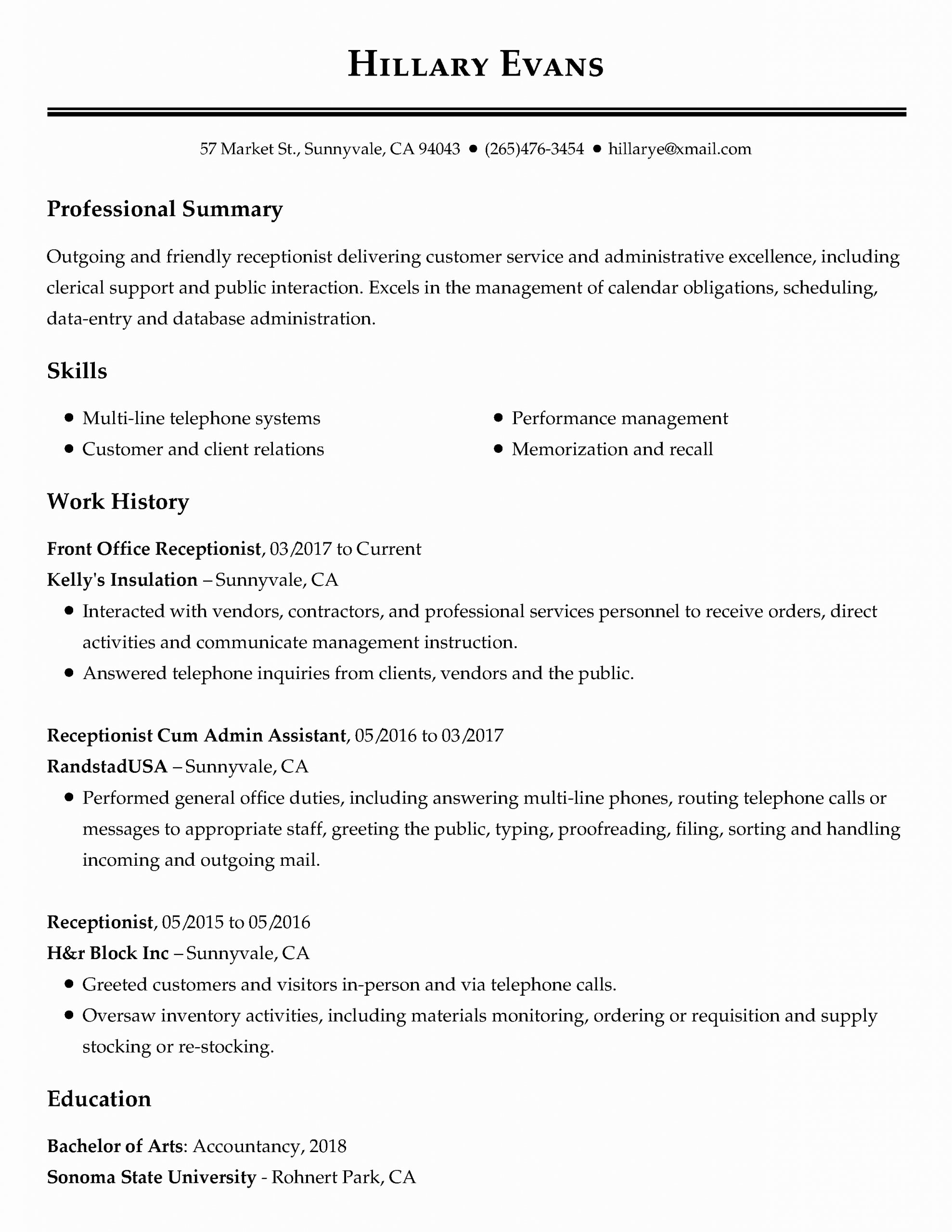 Front Desk Resume Examples Elegant View 30 Samples Of Resumes By Industry Experience Lev Job Resume Samples Resume Objective Examples Resume Writing Examples