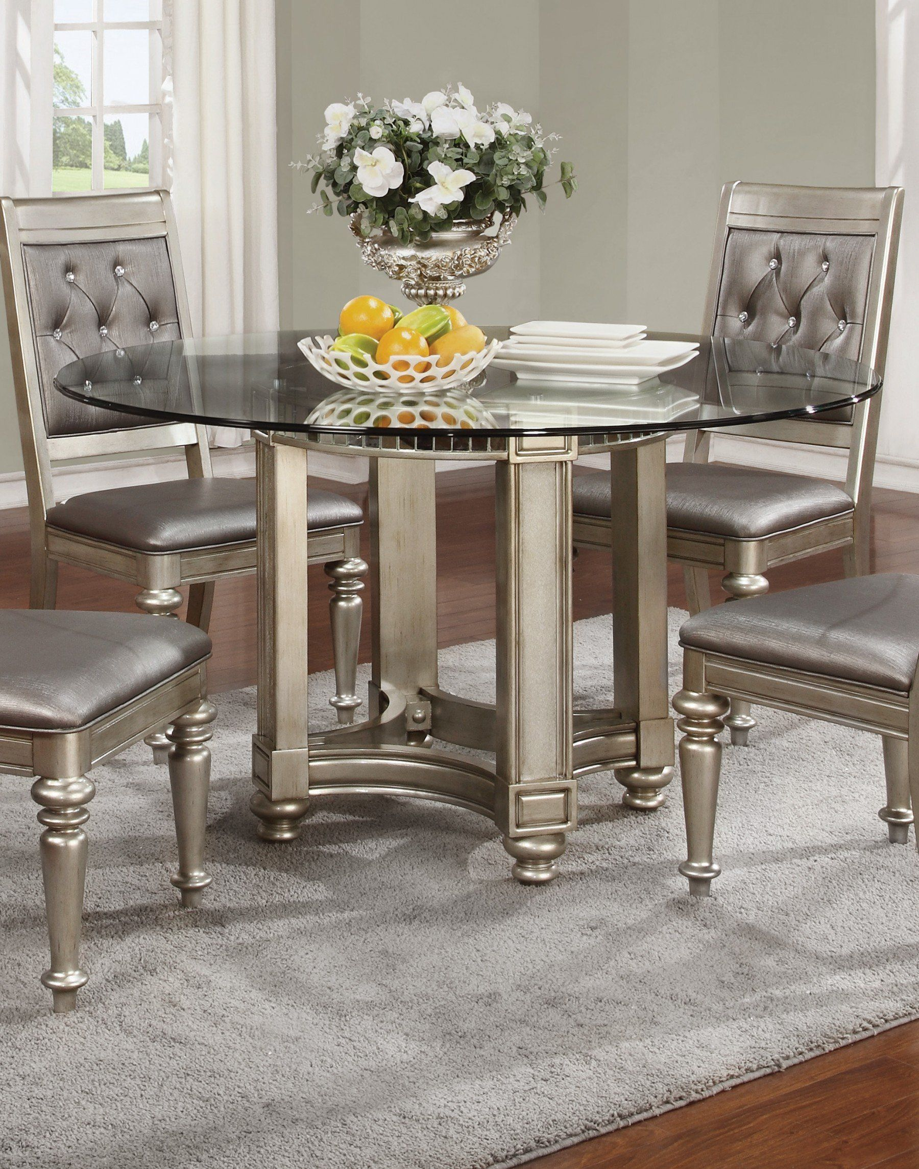 chanel glass dining table on coaster 106470 cb54rd bling game metallic platinum 2 pcs dining table round dining room round dining room sets round dining table round dining room sets round dining table