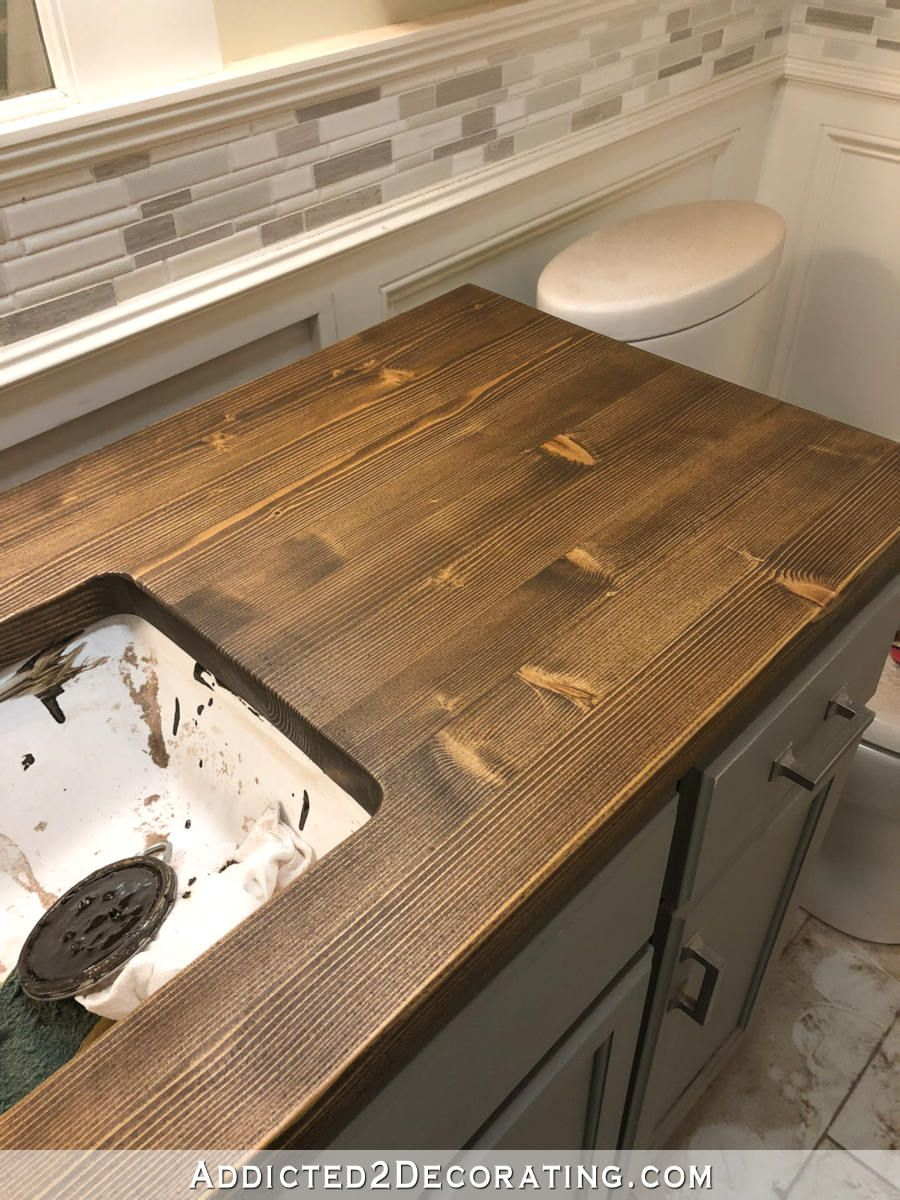 How To Refinish Pine Wood Countertops Addicted 2 Decorating Bathroom Countertops Wood Countertops Wood Bathroom
