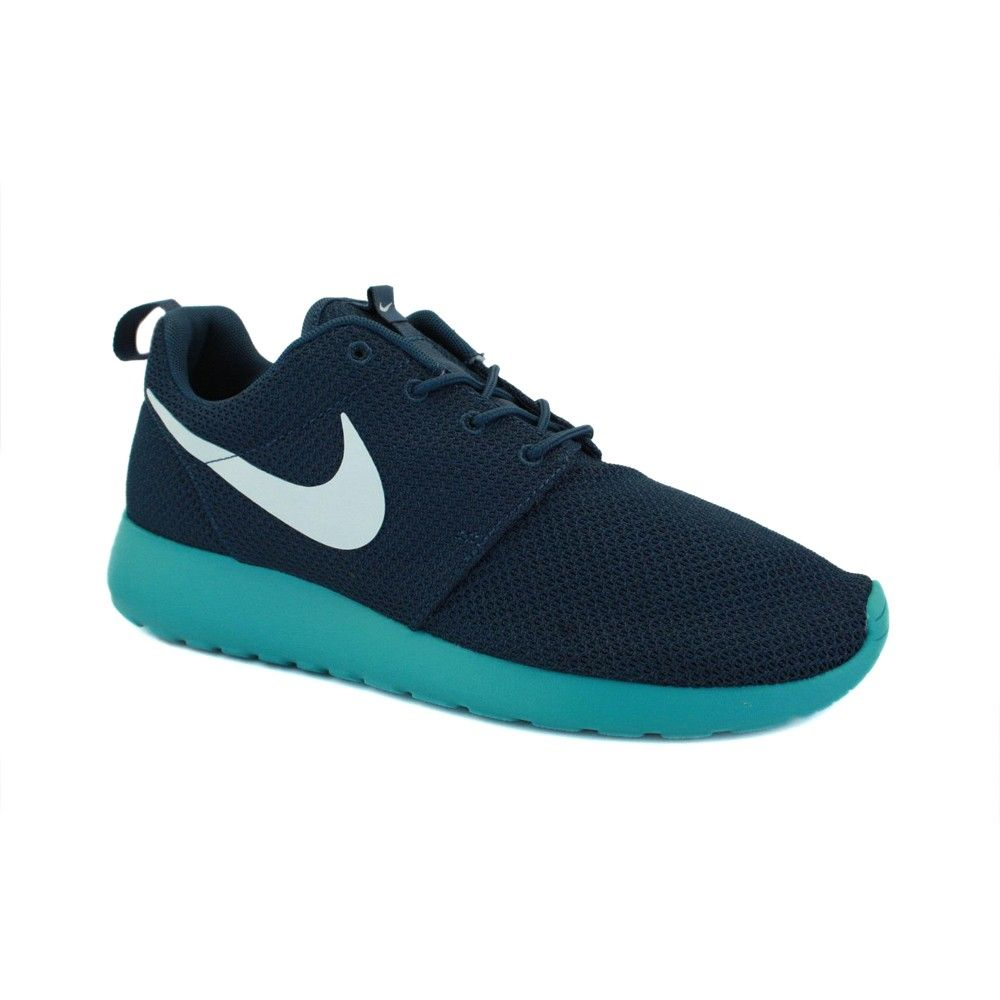 new concept de34a 276c0 Nike Roshe Run 511881 443 Mens Mesh Laced Trainers Blue Turquoise