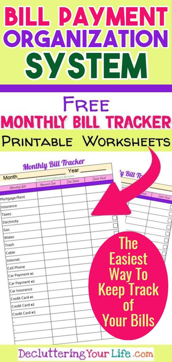 free bill organizer printables  and my simple bill