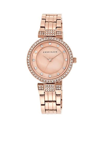 Anne Klein Women's Rose Gold-Tone Crystal Dress Watch