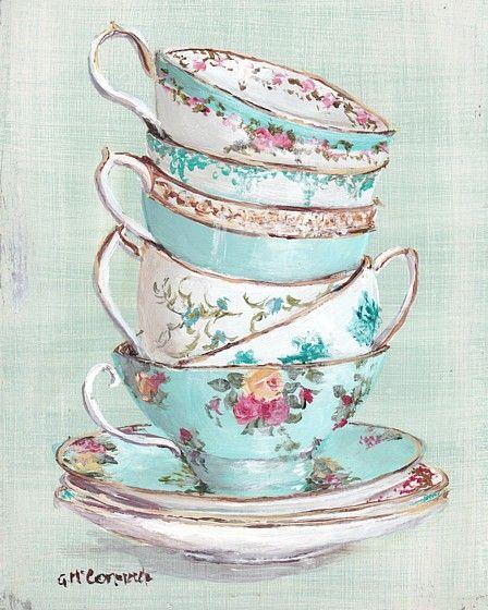 Ready To Frame Print Aqua Themed Stacked Tea Cups Postage Is Included Australia Wide Tea Cups Themed Tea Tea