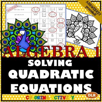 Solving Quadratic Equations Coloring Activity | Color ...
