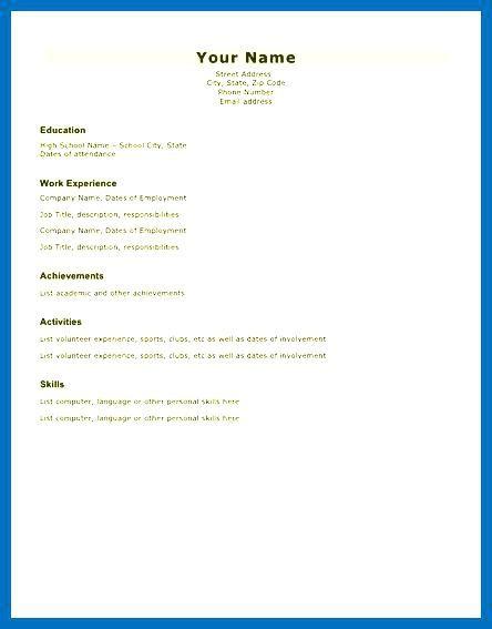 Basic Resume Form Printable Resume Form Sample Basic Resume Form