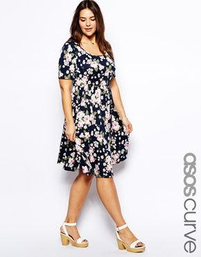 Image 1 of ASOS CURVE Skater Dress In Rose Print In Longer Length ... fad6b9737