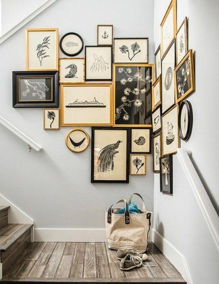 Wohnideen Bilderwand picture frame hallway wall decorating staircase more wohnideen