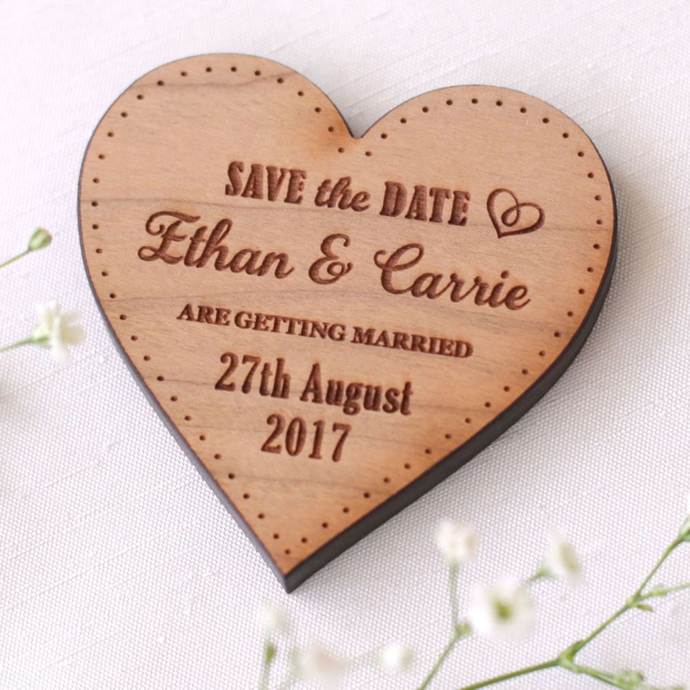 Wooden Save The Date Magnet Wood Wedding Save The Dates Fridge ...