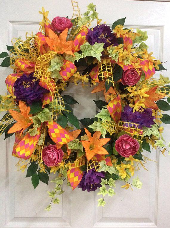 bright colored door wreath summer door wreaths wreath for