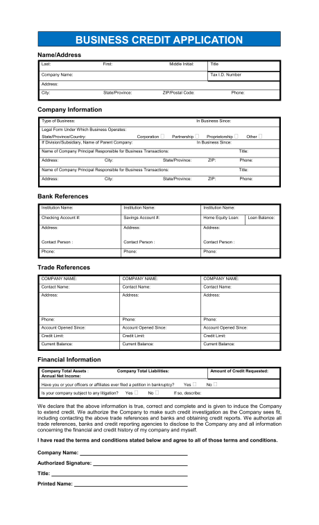 credit application template 40 free credit application form