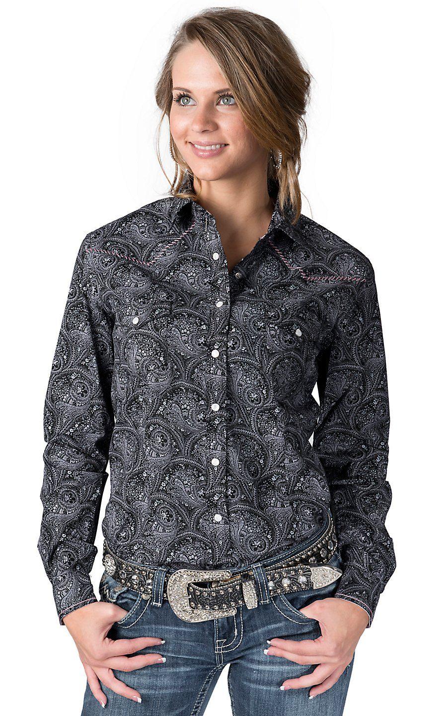 2d7e36b3781fb6 Rough Stock® Women's Black with Pale Pink Paisley Print Long Sleeve Western  Shirt