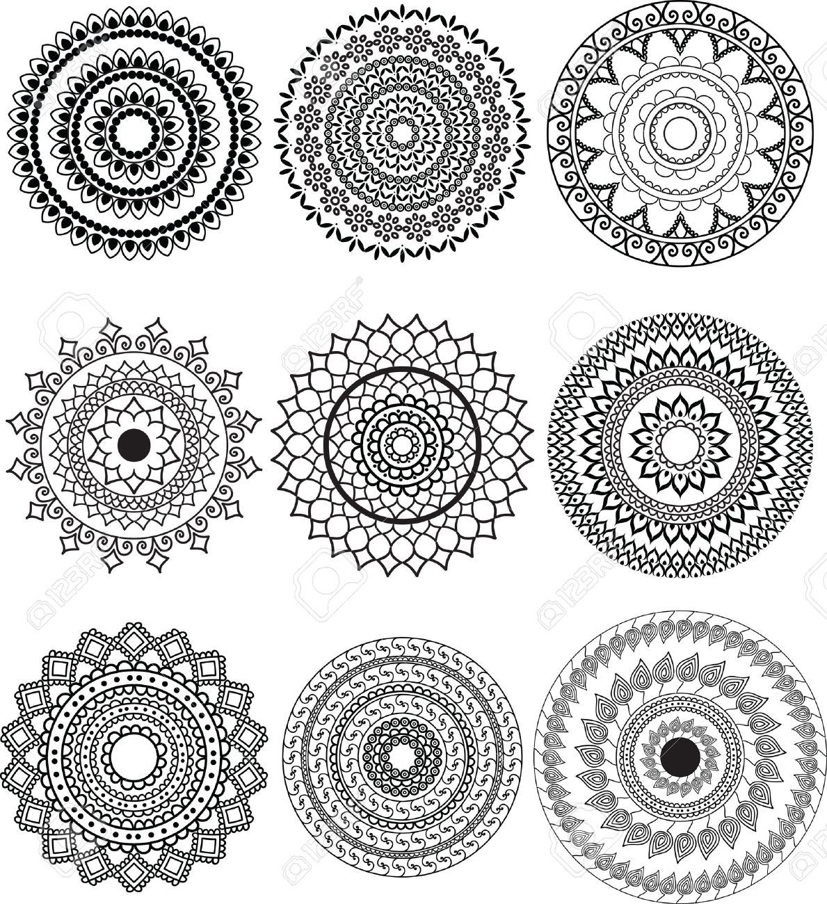 Henna Design Outline: Round Mandala Outline - Google Search