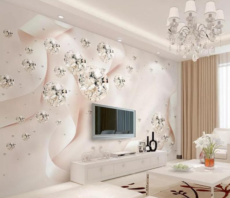 3d Diamonds Ribbon Gn755 Wallpaper Mural Decal Mural Photo Etsy In 2021 Wall Painting Living Room Living Room Tv Wallpaper Living Room