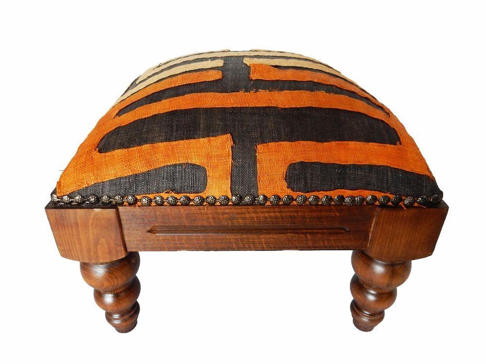"African   Kuba  Cloth Footstool 12"" H # CFS168"
