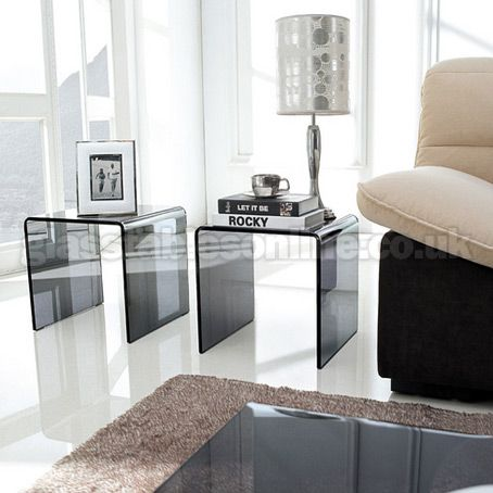 Buy pair of smoked glass side tables from - Glass side tables for living room uk ...