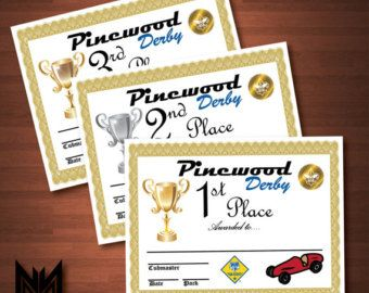 Printable Pinewood Derby Certificates  WeighIn Sign  Bsa Cub