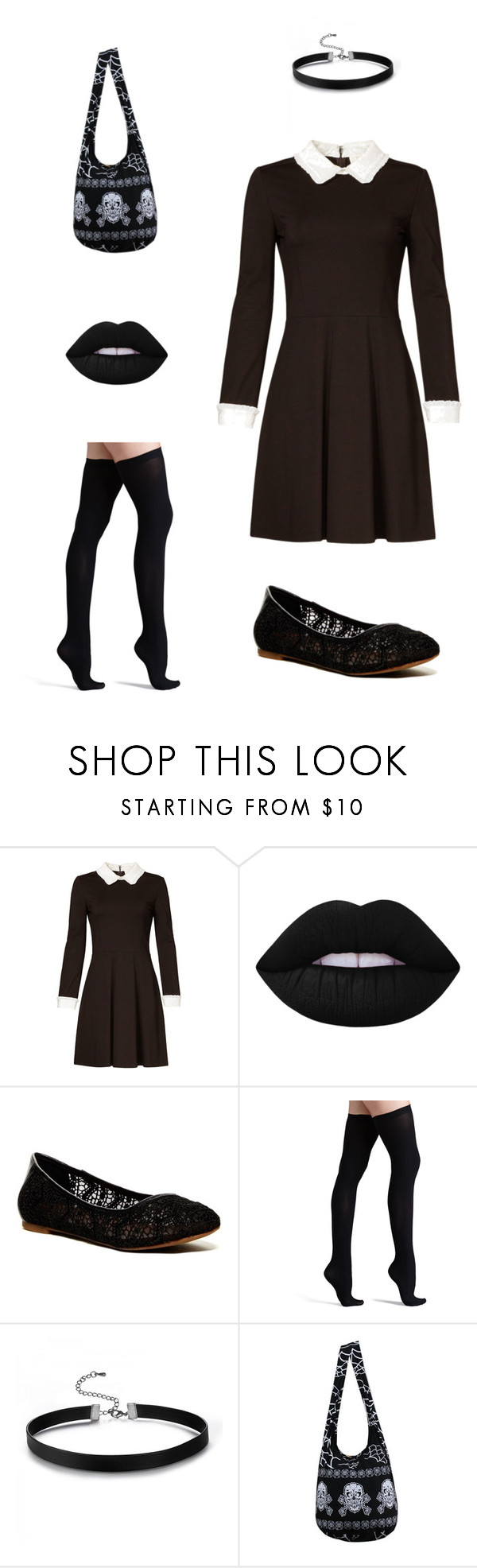 """""""Wednesday Addams Inspired"""" by mdingle2000 on Polyvore featuring ERIN Erin Fetherston, Lime Crime, Lucky Brand and Commando"""