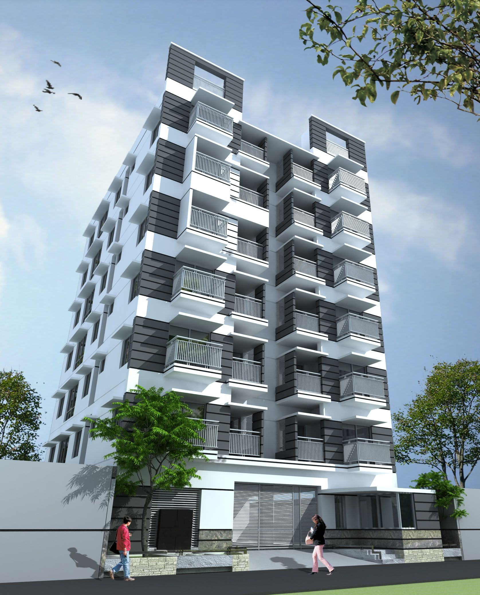 Seven Storied Residential Building 3D View  Structural