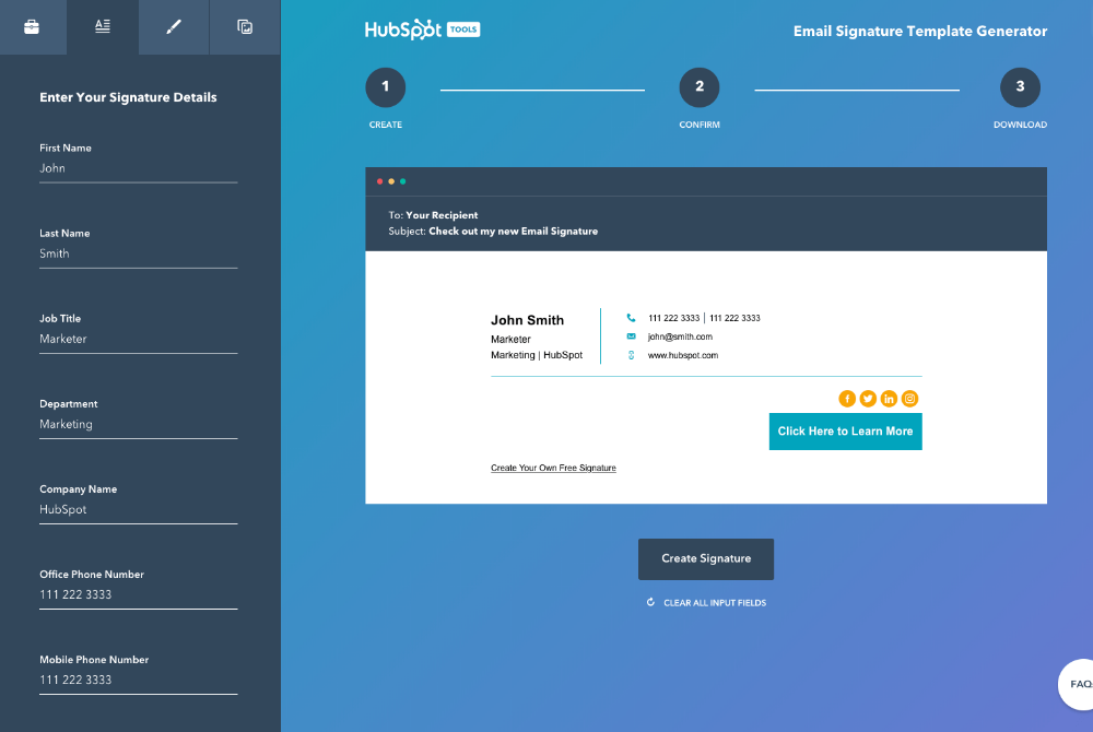 Free Email Signature Template Generator by HubSpot Free